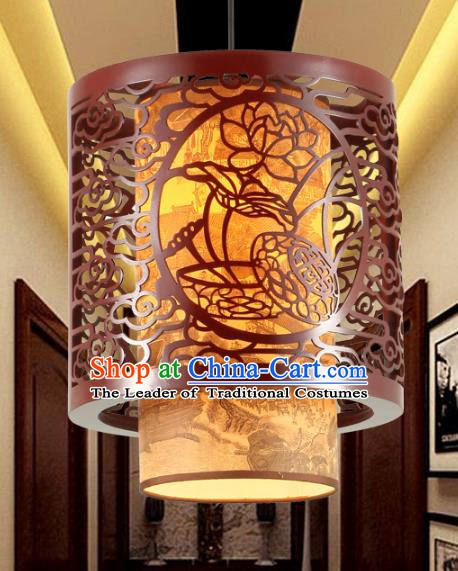 Traditional Chinese Palace Hanging Lanterns Handmade Wood Carving Lotus Lantern Ancient Ceiling Lamp