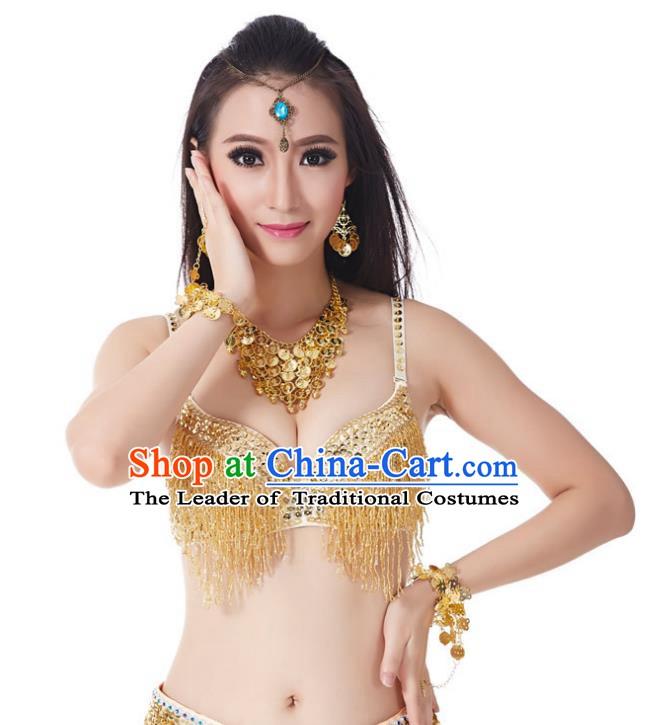 9e37ef032c04 Indian National Belly Dance Costume Sexy Golden Tassel Brassiere for Women