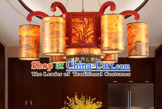 Traditional Chinese Palace Hanging Lanterns Handmade Orchid Lantern Ancient Ceiling Lamp