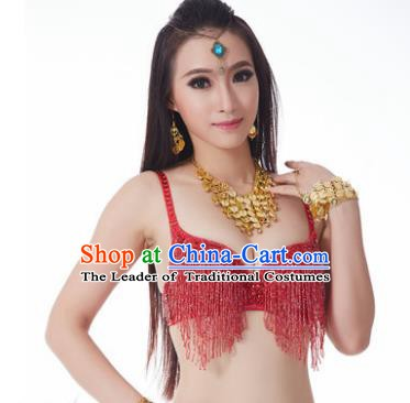 Indian National Belly Dance Costume Sexy Red Tassel Brassiere for Women