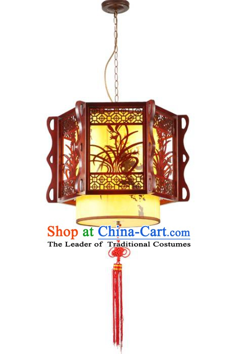 Traditional Chinese Wood Carving Orchid Palace Hanging Lanterns Handmade Lantern Ancient Ceiling Lamp