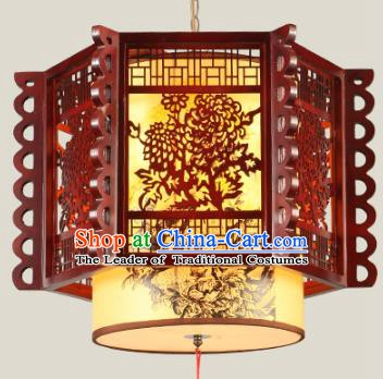 Traditional Chinese Wood Carving Chrysanthemum Palace Hanging Lanterns Handmade Lantern Ancient Ceiling Lamp