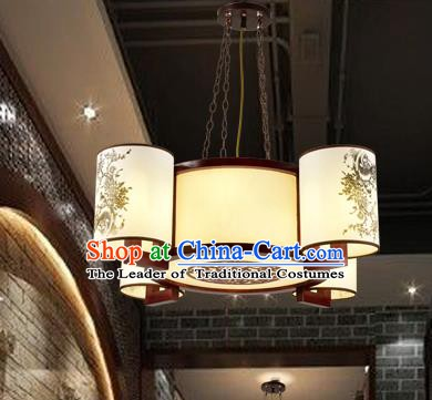 Traditional Chinese Painted Hanging Palace Lanterns Handmade Four-Lights Lantern Ancient Ceiling Lamp