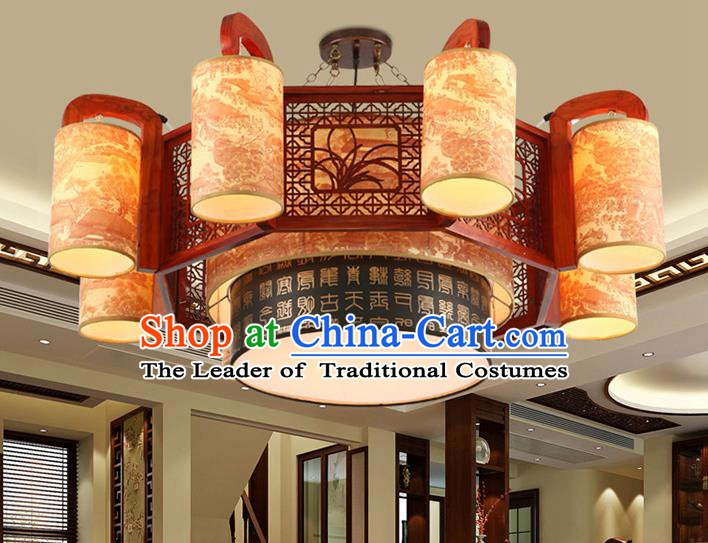 Traditional Chinese Wood Orchid Palace Lanterns Handmade Eight-Lights Lantern Ancient Ceiling Lamp