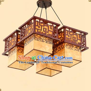 Traditional Chinese Four-Lights Palace Lanterns Handmade Wood Hanging Lantern Ancient Ceiling Lamp