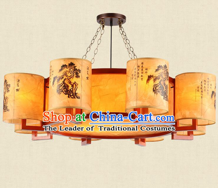 Traditional Chinese Ceiling Palace Lanterns Handmade Eight-Lights Lantern Ancient Hanging Lamp