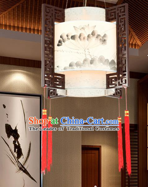 Traditional Chinese Ink Painting Lotus Ceiling Palace Lanterns Handmade Wood Hanging Lantern Ancient Lamp