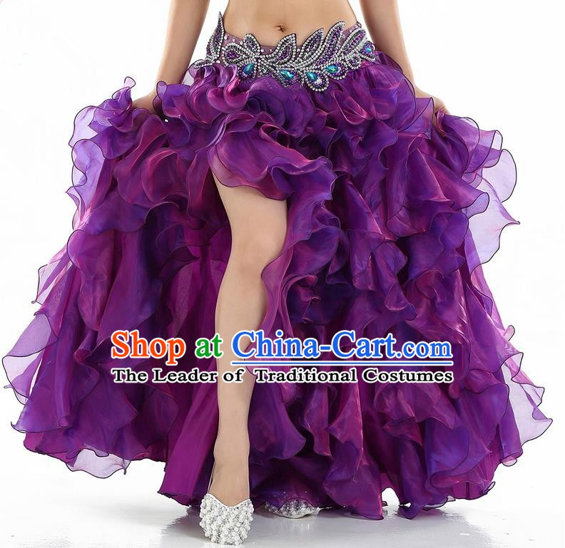 Traditional Indian National Belly Dance Purple Bubble Split Skirt India Bollywood Oriental Dance Costume for Women