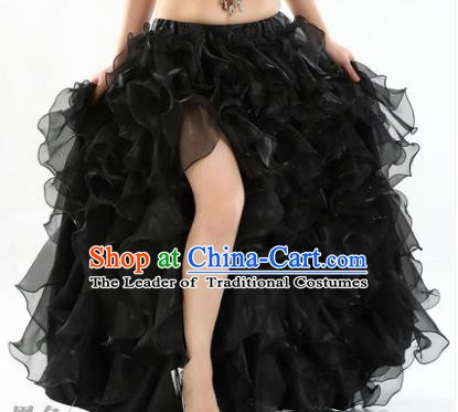 Traditional Indian National Belly Dance Black Bubble Split Skirt India Bollywood Oriental Dance Costume for Women