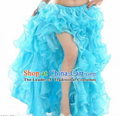 Traditional Indian National Belly Dance Blue Bubble Split Skirt India Bollywood Oriental Dance Costume for Women
