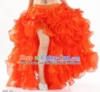 Traditional Indian National Belly Dance Orange Bubble Split Skirt India Bollywood Oriental Dance Costume for Women