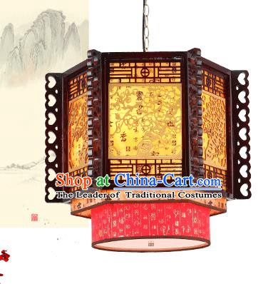 Traditional Chinese Wood Carving Wintersweet Ceiling Palace Lanterns Handmade Lantern Ancient Lamp