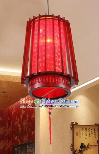 Traditional Chinese Wood Red Ceiling Palace Lanterns Handmade Hanging Lantern Ancient Lamp