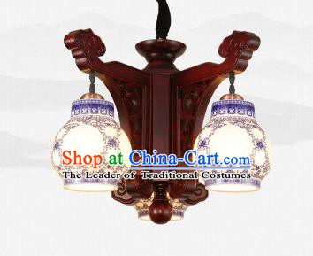 Traditional Chinese Three-Lights Ceiling Wood Palace Lanterns Handmade Porcelain Lantern Ancient Lamp