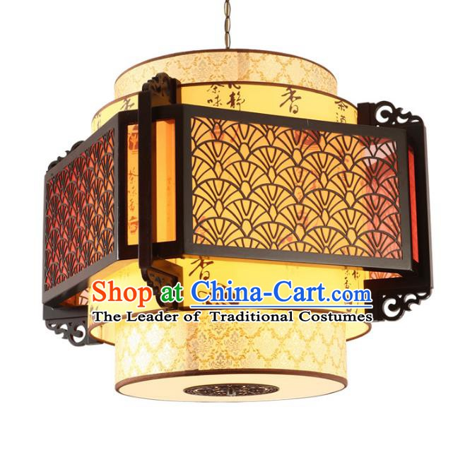 Traditional Chinese Ceiling Wood Palace Lanterns Handmade Carving Lantern Ancient Lamp