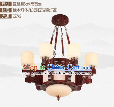 Traditional Chinese Nine-lights Ceiling Palace Lanterns Handmade Wood Carving Lantern Ancient Lamp