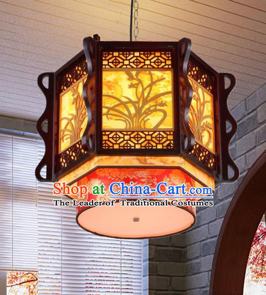 Traditional Chinese Wood Carving Orchid Ceiling Palace Lanterns Handmade Lantern Ancient Lamp