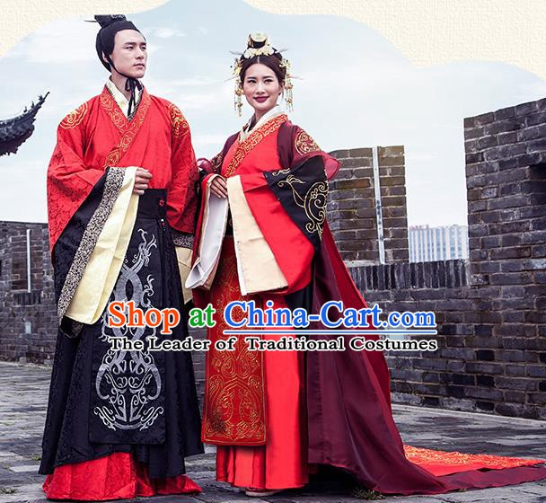Chinese Ancient Han Dynasty Emperor and Empress Embroidered Wedding Costume Complete Set