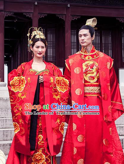Ancient Chinese Tang Dynasty Emperor and Empress Embroidered Wedding Costume Complete Set