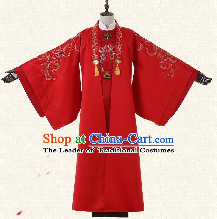 Chinese Han Dynasty Bridegroom Embroidered Costume Ancient Emperor Wedding Clothing for Men