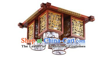 Traditional Chinese Wood Carving Hanging Ceiling Palace Lanterns Handmade Four-pieces Lantern Ancient Lamp