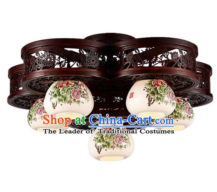 Traditional Chinese Porcelain Ceiling Palace Lanterns Handmade Six-pieces Lantern Ancient Lamp
