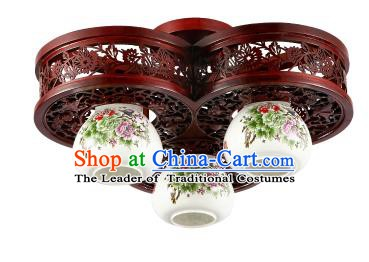 Traditional Chinese Porcelain Ceiling Palace Lanterns Handmade Three-pieces Lantern Ancient Lamp