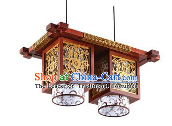 Traditional Chinese Wood Carving Hanging Ceiling Palace Lanterns Handmade Two-pieces Lantern Ancient Lamp