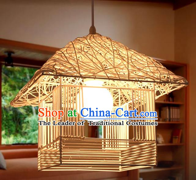 Traditional Chinese Straw Braid Hanging Lanterns Handmade Ceiling Lantern Ancient Lamp