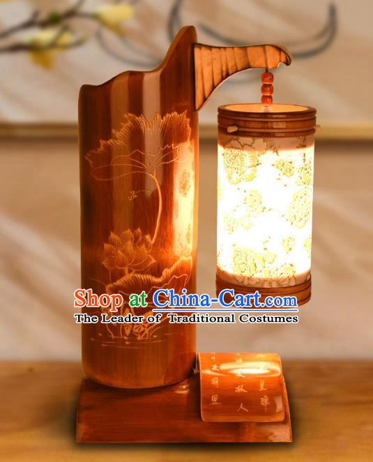 Traditional China Bamboo Carving Lotus Leaf Lanterns Handmade Lantern Ancient Desk Lamp