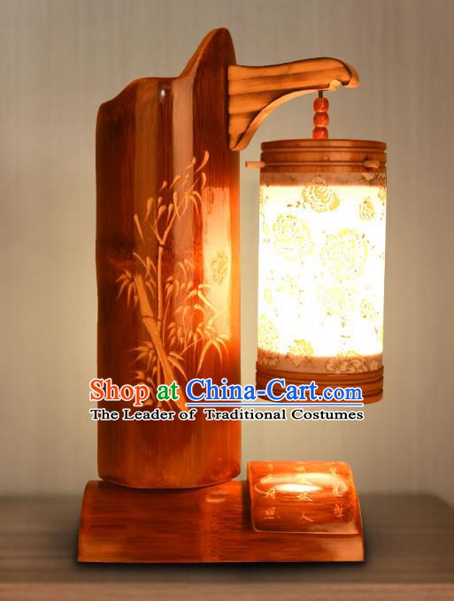Traditional China Carving Bamboo Lanterns Handmade Lantern Ancient Desk Lamp