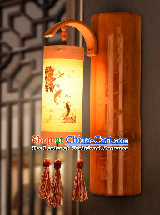 Traditional China Lanterns Handmade Carving Fishes Bamboo Lantern Ancient Wall Lamp