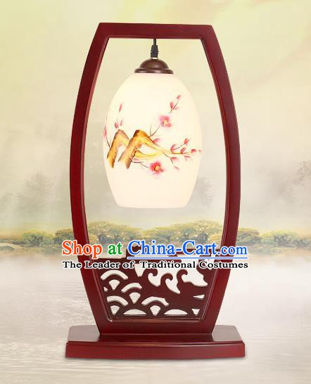 Traditional China Ancient Wood Table Lanterns Handmade Printing Plum Blossom Lantern Ancient Lamp