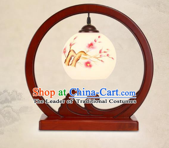 Traditional China Ancient Wood Lanterns Handmade Printing Plum Blossom Table Lantern Ancient Lamp