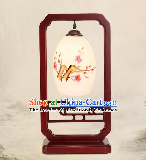 Traditional China Ancient Wood Lanterns Handmade Painting Plum Blossom Table Lantern Ancient Lamp