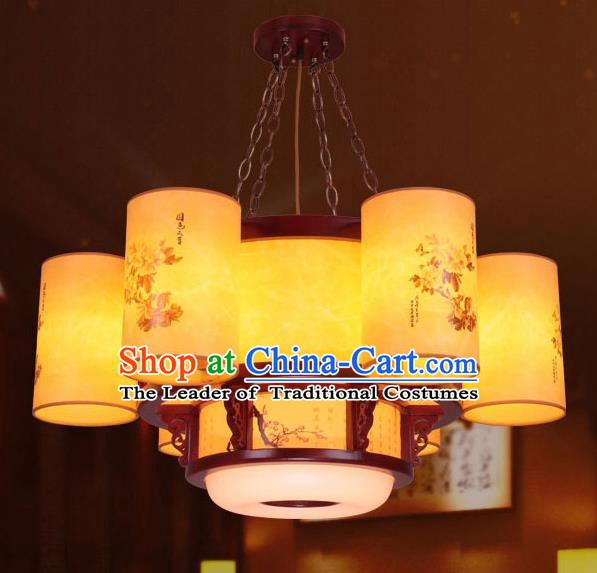 Traditional Chinese Palace Ceiling Lanterns Handmade Painted Hanging Wood Lantern Ancient Lamp