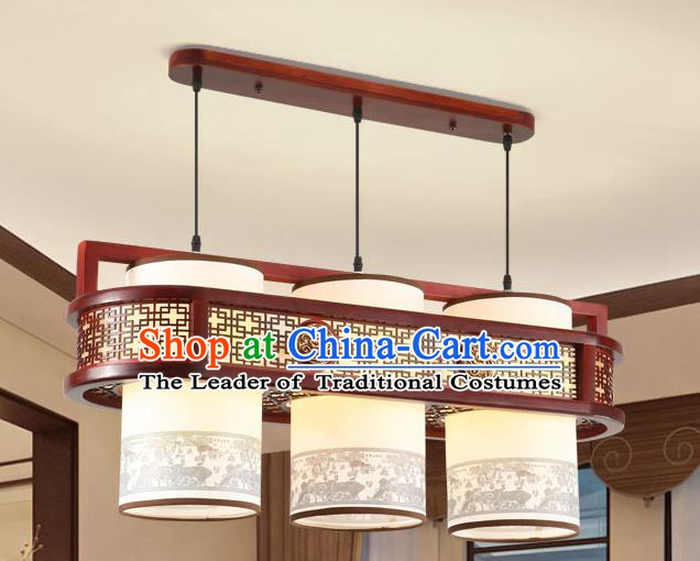 Traditional Chinese Wood Palace Ceiling Lanterns Handmade Painting Hanging Lantern Ancient Lamp