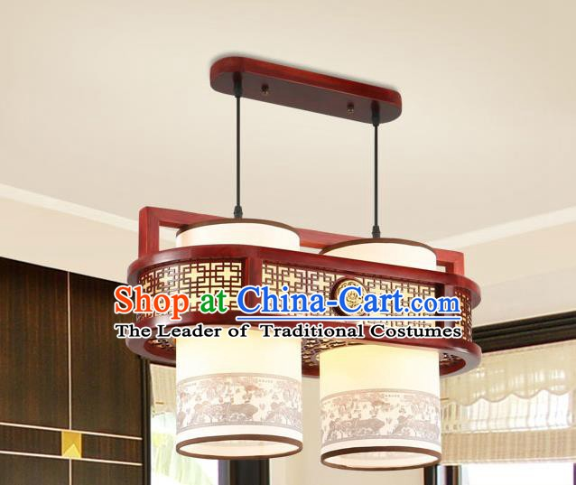 Traditional Chinese Wood Palace Ceiling Lanterns Handmade Two-Lights Painting Hanging Lantern Ancient Lamp