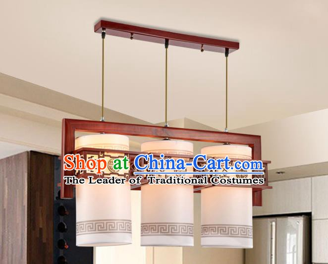 Traditional Chinese Wood Palace Ceiling Lanterns Handmade Three-Lights Hanging Lantern Ancient Lamp