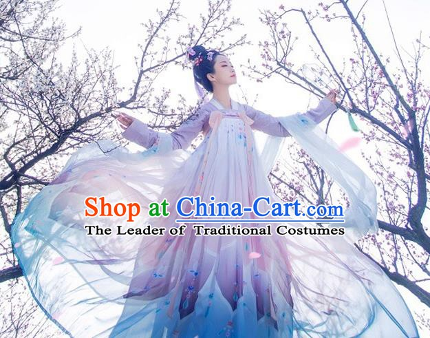 China Ancient Tang Dynasty Imperial Concubine Embroidered Costume for Women