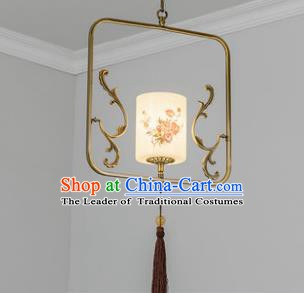 Traditional Chinese Iron Ceiling Lanterns Ancient Handmade Painting Rose Hanging Lantern Ancient Lamp