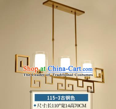 Traditional Chinese Golden Hanging Lanterns Ancient Handmade Three-Lights Ceiling Lantern Ancient Lamp