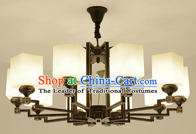 Traditional Handmade Chinese Iron Palace Lanterns Ancient Ten-Lights Porcelain Ceiling Lantern Ancient Lamp