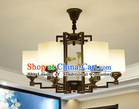 Traditional Handmade Chinese Iron Palace Lanterns Ancient Six-Lights Porcelain Ceiling Lantern Ancient Lamp