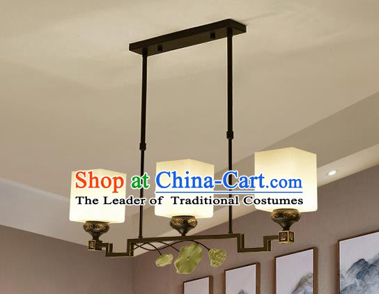 Traditional Handmade Chinese Iron Palace Lanterns Ancient Three-Lights Porcelain Ceiling Lantern Ancient Lamp