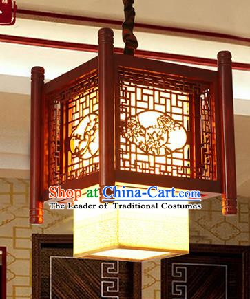 Traditional Chinese Handmade Wood Carving Chrysanthemum Lantern Asian Ceiling Lanterns Ancient Lantern