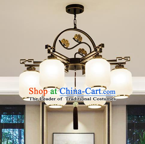 Traditional Handmade Chinese Iron Carving Hanging Lanterns Ancient Six-Lights Ceiling Lantern Ancient Lamp