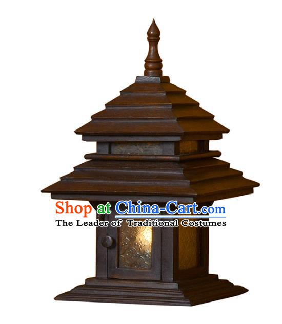 Handmade Traditional Thailand Wood Desk Lantern Asian Lanterns Religion Lantern