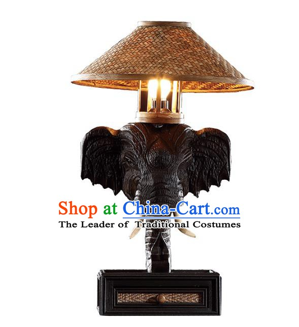 Handmade Thailand Elephant Desk Lantern Asian Lanterns Religion Carving Lantern Traditional Lamp