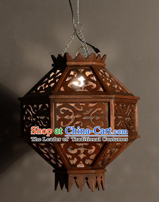 Handmade Traditional Thailand Wood Carving Hanging Lantern Asian Ceiling Lanterns Religion Lantern